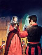 Scared Painting Prints - Execution of Mary Queen of Scots Print by English School