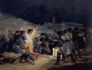 Citizens Painting Posters - Execution of the Defenders of Madrid Poster by Goya