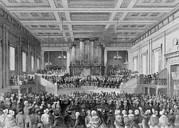 Anti-slavery Framed Prints - Exeter Hall Filled With A Large Crowd Framed Print by Everett