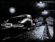 Old Car Drawings Posters - Exit Ramp Poster by Bomonster