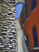 Stairs Painting Posters - Exorcist Stairs in Winter Poster by Alan Mager