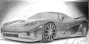 Import Cars Drawings Prints - Exotic Car Print by Michael Bennett