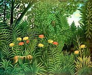 Storm Prints Painting Posters - Exotic Landscape by Henri Rousseau Poster by Pg Reproductions