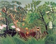 Wild Animals Painting Framed Prints - Exotic Landscape Framed Print by Henri Rousseau