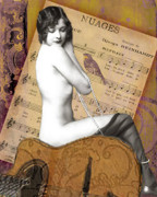 Nude Photo Prints - Exotic Vintage Nude on Guitar and Nuages Sheet Music Print by Christina Fajardo
