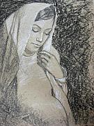 Virgin Mary Drawings Prints - Expectations Print by Dena McMurdie