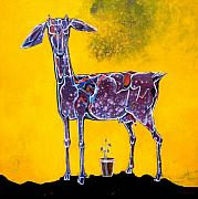 Goat Painting Originals - Expecting Mother by Pradip Sengupta