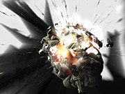 Shattering Prints - Exploding Brain Print by Christian Darkin