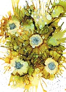 Alcohol Ink Prints - Exploding Sun Flowers Print by Christine Crawford