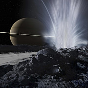 Enceladus Digital Art - Explorers Examine One Of The Great by Ron Miller