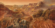 Cosmic Space Painting Prints - Exploring Mars Nanedi Valles Print by Don Dixon
