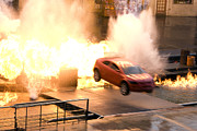 Car Chase Art - Explosion by Lisha Segur
