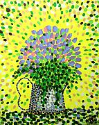 Pointillist Prints - Explosive Flowers Print by Alan Hogan