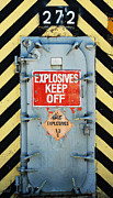 Adspice Studios Art Framed Prints - Explosives Door Keep Out Framed Print by adSpice Studios
