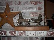 Original Sculptures - Express Wagon With Rooster by Lila Witt Locati
