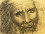 Emotional Drawings Prints - Expression Of An Elder Print by Linda Nielsen