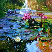 Water Lilies Paintings - Expressions from the Garden by John Lautermilch