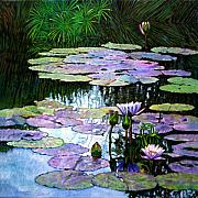 Water Lilies Paintings - Expressions of Love and Peace by John Lautermilch