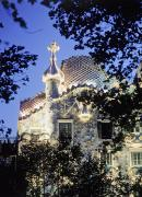 Thru Posters - Exterior Of Casa Batllo At Dusk With Poster by Axiom Photographic