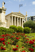 Exterior Of The Athens Academy, Greece Print by Richard Nowitz