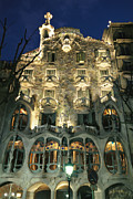 Night Views Posters - Exterior View Of An Antoni Gaudi Poster by Richard Nowitz