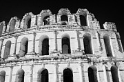 External View Of Three Upper Tiers Of Archways Of Old Roman Colloseum El Jem Tunisia Print by Joe Fox