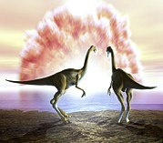 Impacting Metal Prints - Extinction Of The Dinosaurs, Artwork Metal Print by Jose Antonio PeÑas