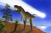 Mass Extinction Posters - Extinction Of The Dinosaurs, Artwork Poster by Richard Bizley