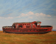 Great Lakes Ship Paintings - Extinguished   The Joseph Medill Fireboat by Daniel W Green