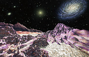 Cosmology Drawings - Extrasolar planet in Virgo cluster by Lynette Cook
