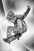 Skater Digital Art Posters - Extreme Skateboard Jump Poster by Julie L Hoddinott