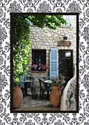 Provence Village Posters - Exze Cobblestone Patio with border Poster by Carla Parris