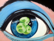 Surrealistic Paintings - Eye and apples by Fatima Hameurlaine