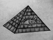 Pyramid Drawings - Eye in the Pyramid by Madelyn May