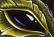 Dragon Metal Prints - Eye Of Deep Amethyst Metal Print by Elaina  Wagner