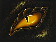 Dragon Eye Posters - Eye Of Golden Embers Poster by Elaina  Wagner