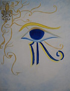 Horus Painting Posters - Eye of Horus NOLA Style Poster by Marian Hebert