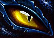 Dragon Metal Prints - Eye Of The Blue dragon Metal Print by Elaina  Wagner
