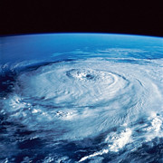 Satellite View Posters - Eye Of The Hurricane Poster by Stocktrek Images