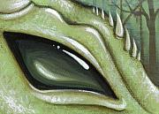 Fantasy Dragon Posters - Eye Of The Moss Dragon Poster by Elaina  Wagner