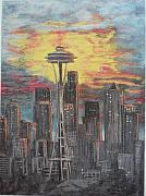 Seattle Skyline Paintings - Eye On The Needle by Dan Bozich
