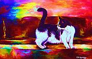 Black And White Cats Paintings - Eye On The Prize by Carole Spandau