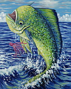 Mahi Mahi Painting Posters - Eye on the Prize Poster by Danielle  Perry