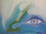 Mermaid Pastels Prints - Eye See the Sea and the Sea Sees Me Print by Elaine Read-Cole