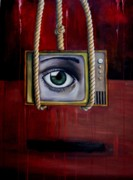Humor. Paintings - Eye Witness by Leah Saulnier The Painting Maniac