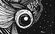 Edge Drawings Posters - Eyeball In Space Poster by Stef Schultz Sorry Little Sharky