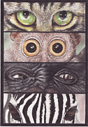Gorilla Drawings - Eyes 1 by Butter Fly