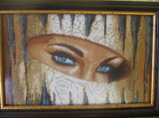 Picture Tapestries - Textiles Originals - Eyes 1 by Veselina Simeonova