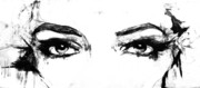 Photography Drawings - Eyes in black and white by Paul Jarrett