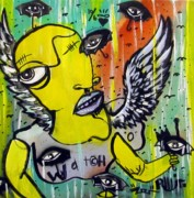 Umbrella Mixed Media Prints - Eyes In The Sky Print by Robert Wolverton Jr